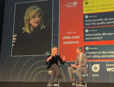 Arianna Huffington answers audience questions at WBFNYC 2018